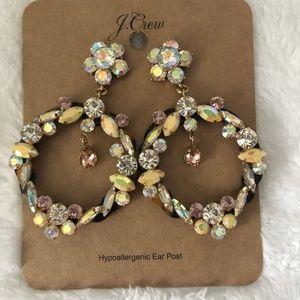 NWT J.Crew Crystal & Tortoise Statement Earrings